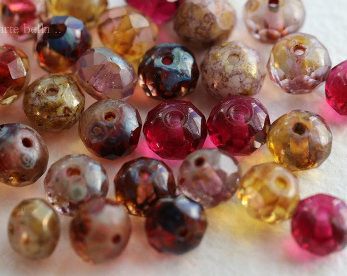ROSE WATER PEBBLES .. New 30 Premium Picasso Czech Glass Rondelle Mix Beads 5x7mm (6842-30)