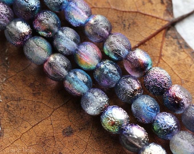 MYSTIC VIOLET DRUKS 6mm .. 25 Premium Etched Czech Glass Druk Beads (8223-st)