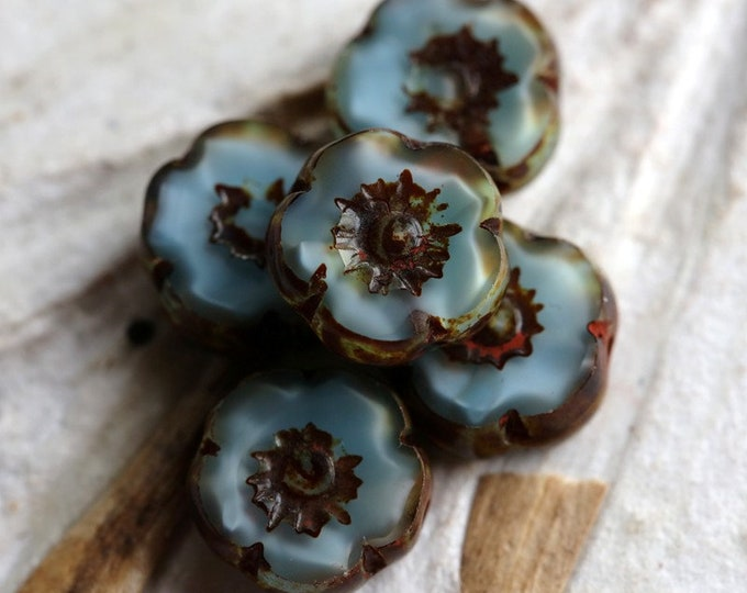 SILKY SKY PANSY .. New 6 Premium Picasso Czech Glass Flower Beads 10mm (7073-6)