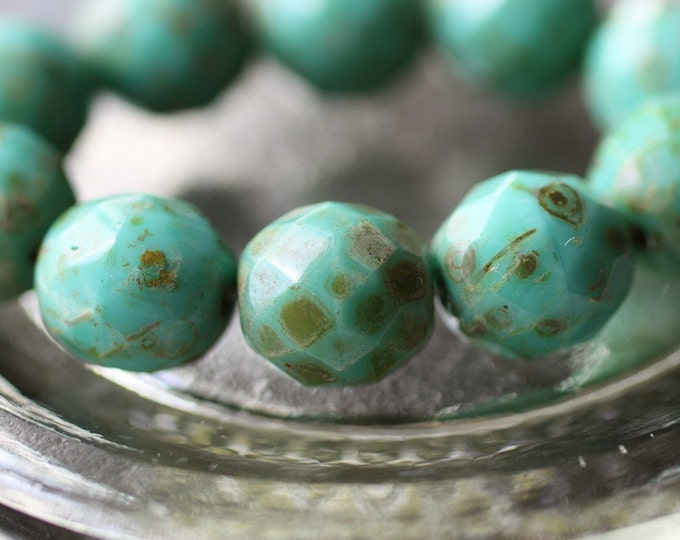 sale .. TURQUOISE POPS .. 6 Picasso Czech Faceted Glass Beads 12mm (2119-6)