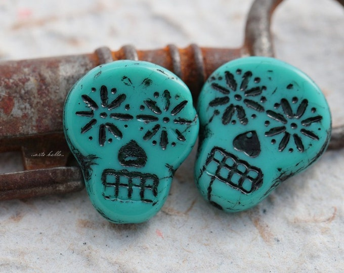 sale .. BLACK TEAL SKULLS .. 2 Picasso Czech Sugar Skull Beads 20x17mm (5523-2)