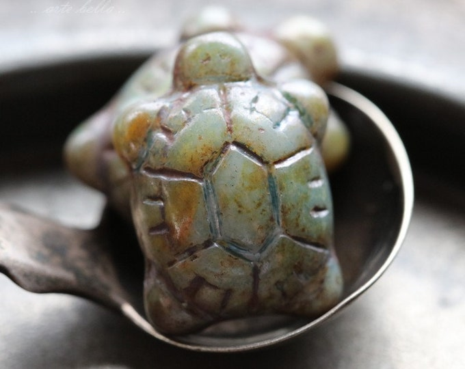 SAGE TURTLES .. 2 Czech Picasso Glass Turtle Beads 20x8mm (5303-2)