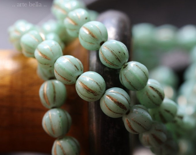 GILDED MINT MELONS 6mm .. 25 Premium Picasso Czech Melon Beads (5100-st)