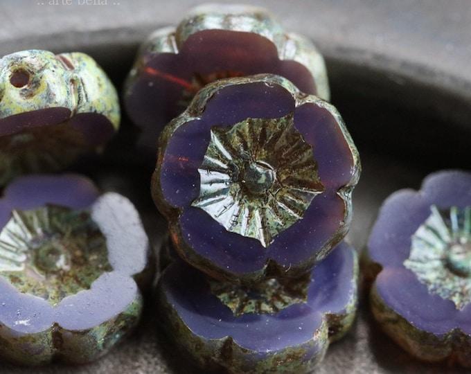GRAPE PANSY No. 4 .. 6 Premium Picasso Czech Glass Flower Beads 12mm (6831-6)