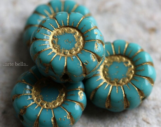 GOLDEN TURQUOISE SUNFLOWERS .. 4 Premium Picasso Czech Glass Flower Beads 13mm (7026-4)