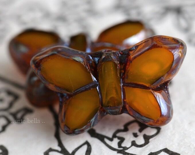 GOLDEN FLUTTERS .. 2 Premium Picasso Czech Glass Butterfly Beads 19x10mm (7000-2)