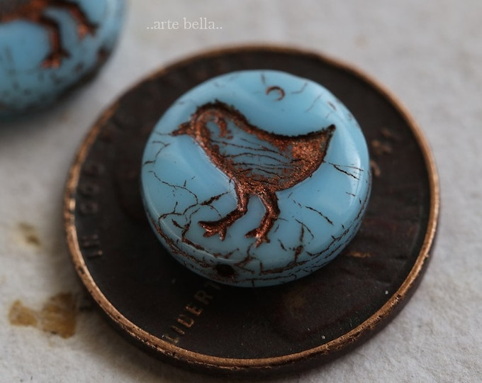 SKY LIL' CHICKS No. 2 .. 10 Premium Picasso Czech Glass Coin Beads 12mm (6271-10)
