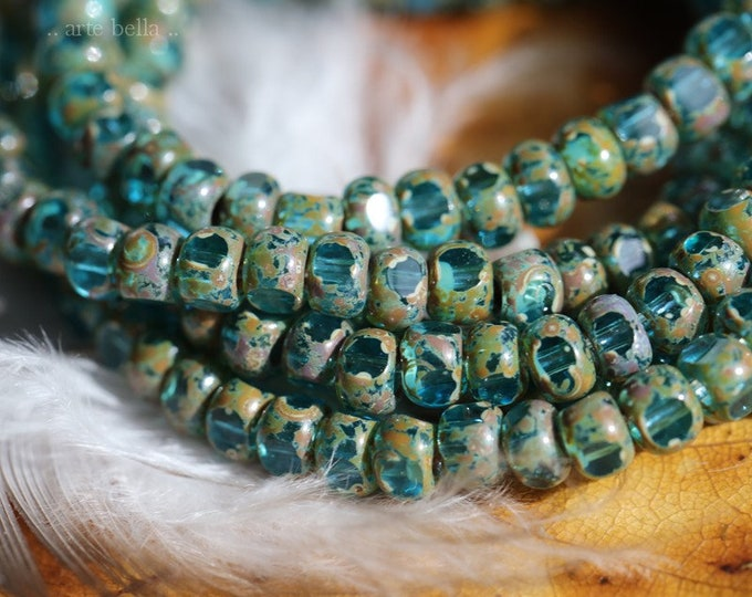 AQUA SEEDS .. 50 Premium Picasso Czech Glass Faceted Seed Bead Size 6/0 (7205-st)