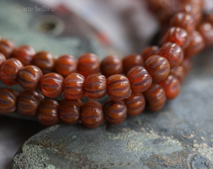 AUTUMN MINI MELONS .. 50 Premium Picasso Czech Glass Melon Beads 3mm (6358-st)
