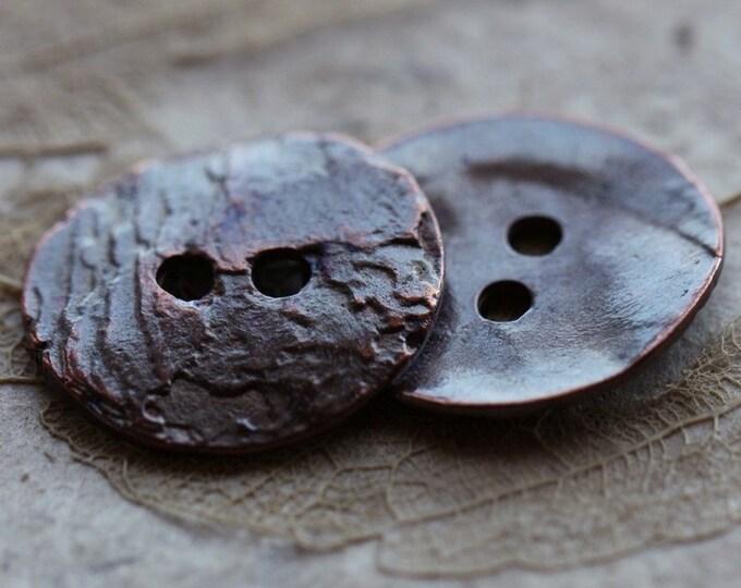 sale .. WAVY BUTTON No. 23 .. 2 Mykonos Greek Metal Buttons 16mm (M23-2)