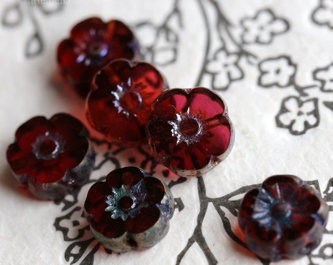 sale .. JUICY PANSY .. 6 Premium Picasso Czech Glass Flower Beads 10mm (7070-6)