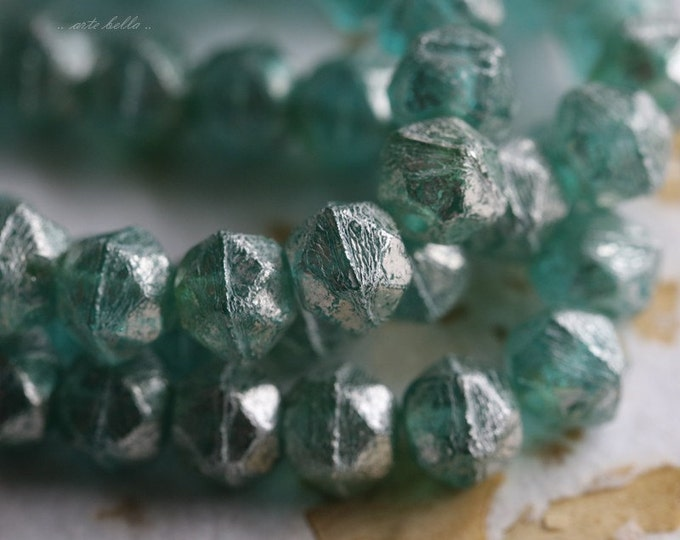 SILVERED SEAFOAM POPS No. 2 .. 20 Premium Picasso Czech Glass English Cut Beads 8mm (5434-st)