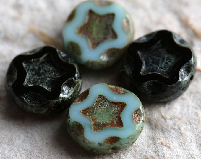 MIXED STARS No. 2 .. 4 Premium Picasso Czech Glass Star Coin Beads 11mm (7017-4)