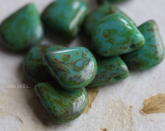 sale .. TEAL BRIOLETTES .. 10 Premium Picasso Czech Glass Briolette Beads 12x11mm (7030-10)