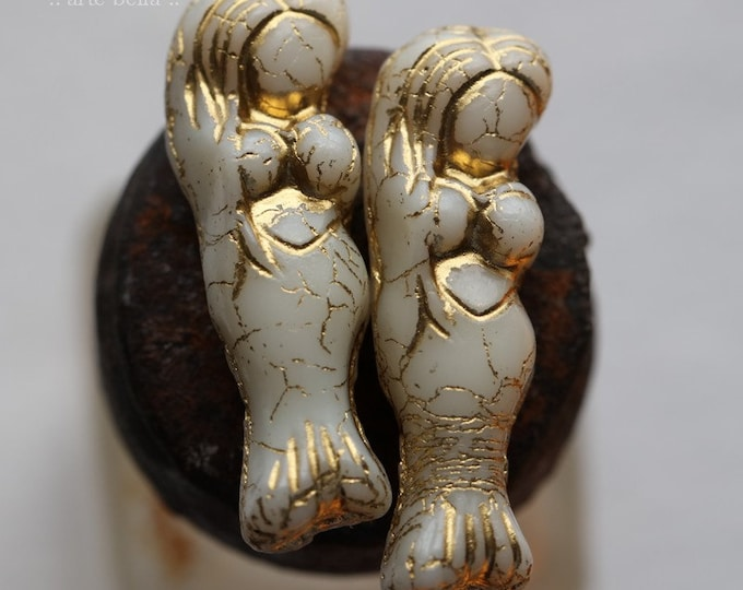 GOLDEN IVORY MERMAID .. 2 Premium Matte Czech Glass Mermaid Beads 5x25mm (7897-2)