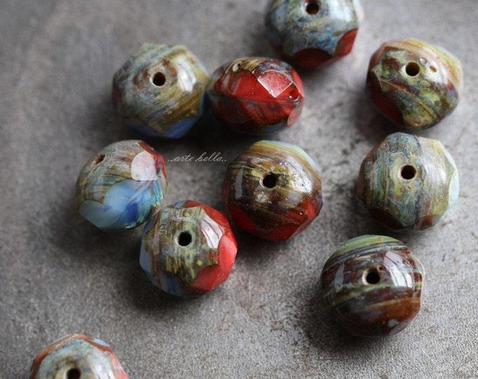 PATRIOTIC .. 10 Premium Picasso Czech Rondelle Glass Beads 6x9mm (5394-10)