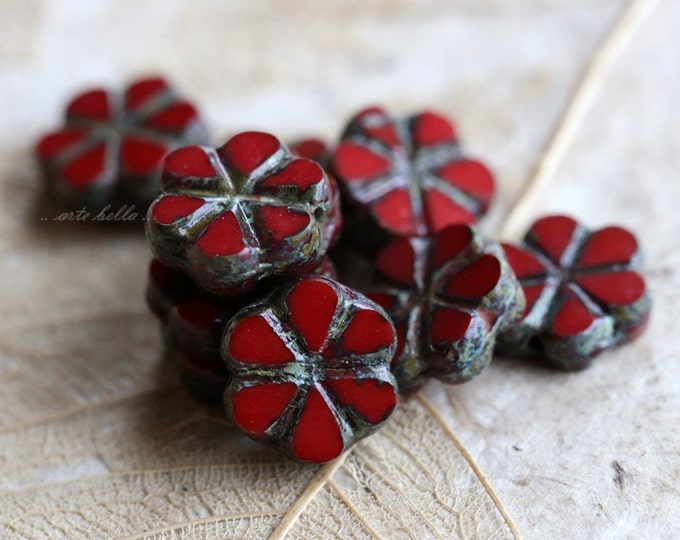 BING CHERRY BLOOMS No. 2 .. 10 Picasso Czech Flower Glass Beads 10x3mm (5277-10)