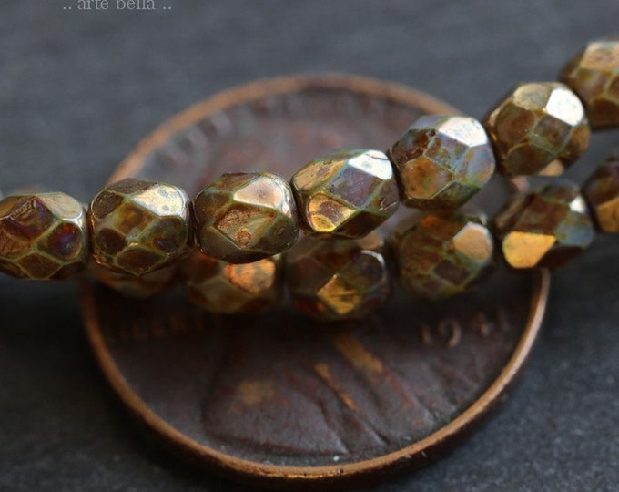 GILDED PLUMS 4mm .. 50 Premium Picasso Faceted Czech Glass Beads 4mm (6589-st)