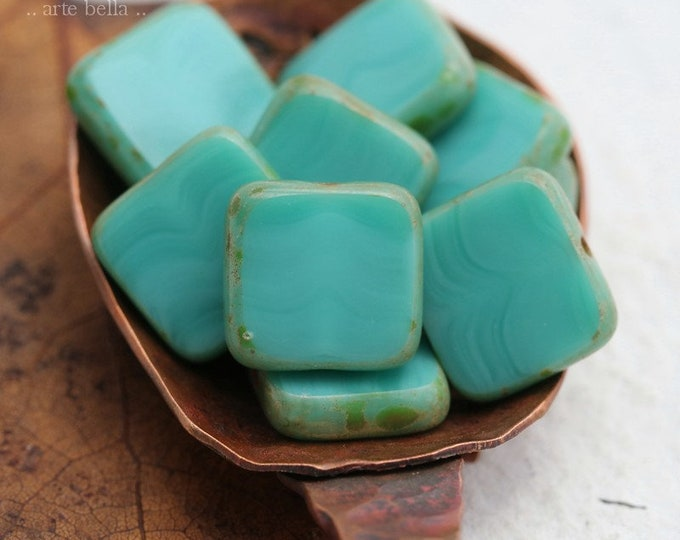 TURQUOISE SQUARES .. 10 Premium Picasso Czech Glass Square Beads 10mm (8183-10)