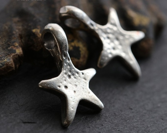 SHOOTING STARS .. 2 Mykonos Greek Star Pendant Charm 12x19mm (M183-2)