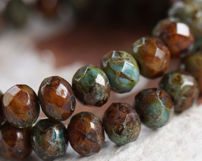 CANYON .. 10 Premium Picasso Czech Rondelle Glass Beads 5x7mm (B11-10)