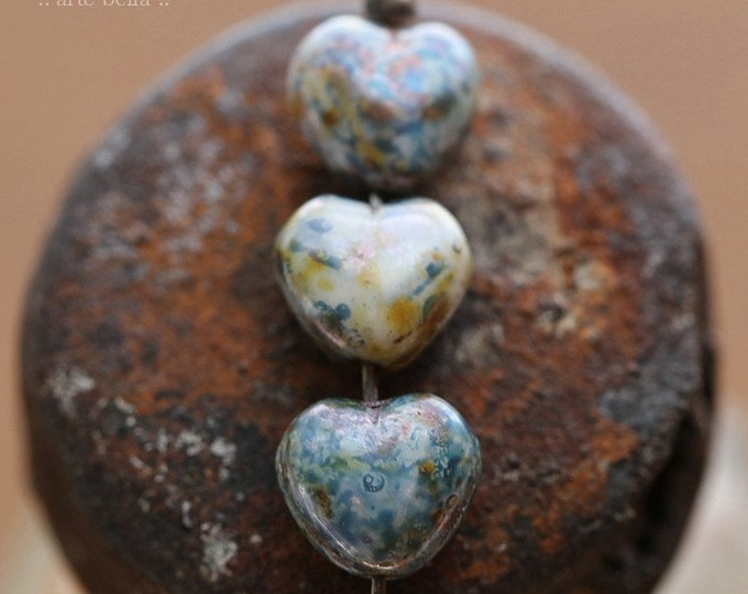 BLUEBERRY CREAM BEBE Hearts .. New 20 Premium Picasso Czech Glass Puffy Heart Beads 6mm (7998-20)