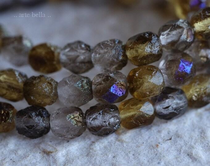GRAY AMBER .. 25 Premium Stone Picasso Czech Glass Beads 6mm (6216-st)