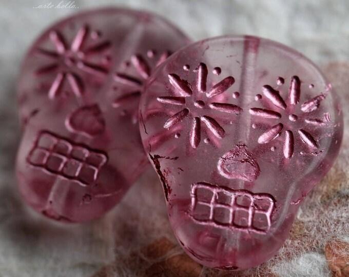 SUGAR SKULLS No. 5879 .. 2 Premium Matte Czech Glass Sugar Skull Beads 20x17mm (5879-2)