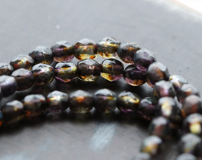 WINE GRAPE PETITES 4mm .. 50 Premium Picasso Czech Glass Faceted Round Beads (8399-st)