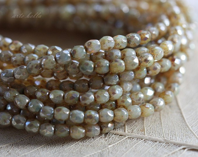 CASHMERE BITS .. 50 Premium Picasso Faceted Czech Glass Beads 3mm (3216-st)