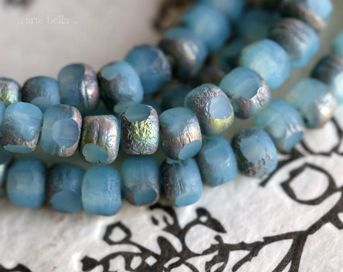 MYSTIC AQUA SEEDS .. New 50 Premium Etched Czech Glass Trica Seed Bead Size 6/0 (7561-st)