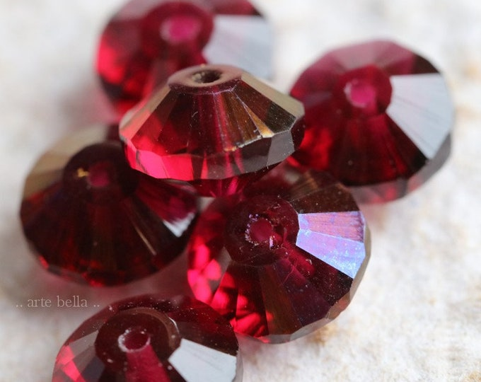WICKED MULBERRY .. 6 Premium Czech Glass Faceted Rivoli Beads 10x6mm (7059-6)