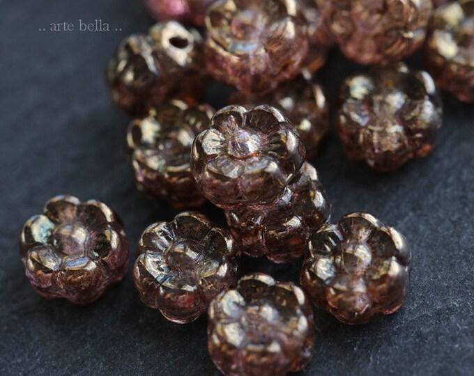 BRONZE PLUM POSIES 6mm .. 20 Premium Picasso Czech Glass Flower Bead (6633-20)