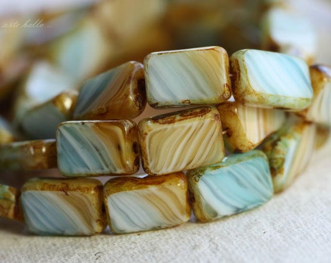 SANDY BEACH No. 2 .. 10 Premium Picasso Czech Glass Rectangle Beads 12x8mm (B1027-10)