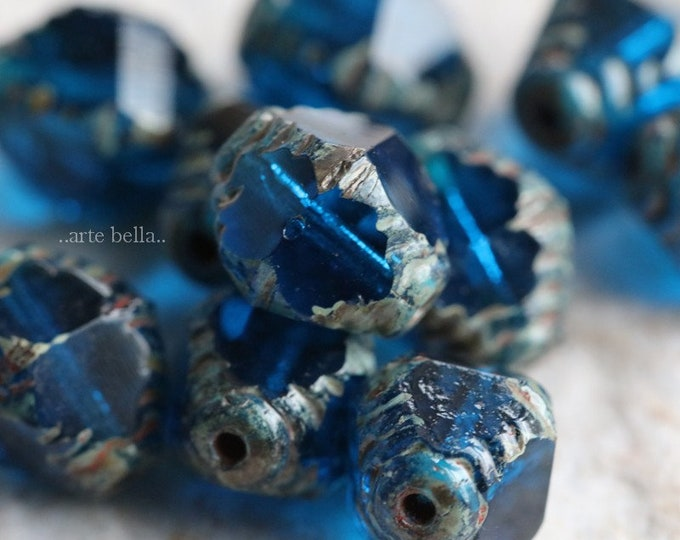SAPPHIRE TINK .. NEW 10 Premium Picasso Czech Faceted Bicone Beads 8x10mm (6934-10)