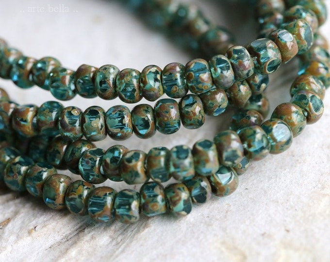 AQUA SEEDS .. NEW 50 Premium Picasso Czech Glass Faceted Seed Bead Size 6/0 (7205-st)