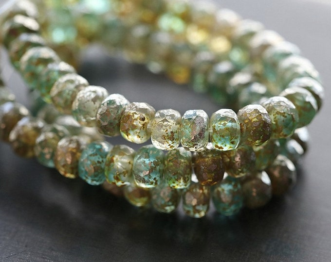 ANTIQUE RIVER BABIES .. New 30 Premium Picasso Czech Faceted Rondelle Glass Beads 3x5mm (8630-st)