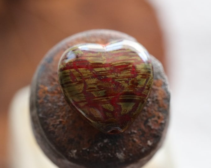 MOSSY MAROON THUMPERS .. 4 Premium Picasso Czech Glass Puffy Heart Beads 16x15mm (8515-4)