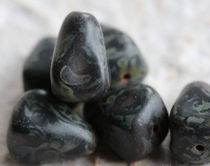 sale .. MATTE MIDNIGHT PEAKS .. 6 Premium Picasso Czech Glass Drop Beads 12x10mm (5882-6)