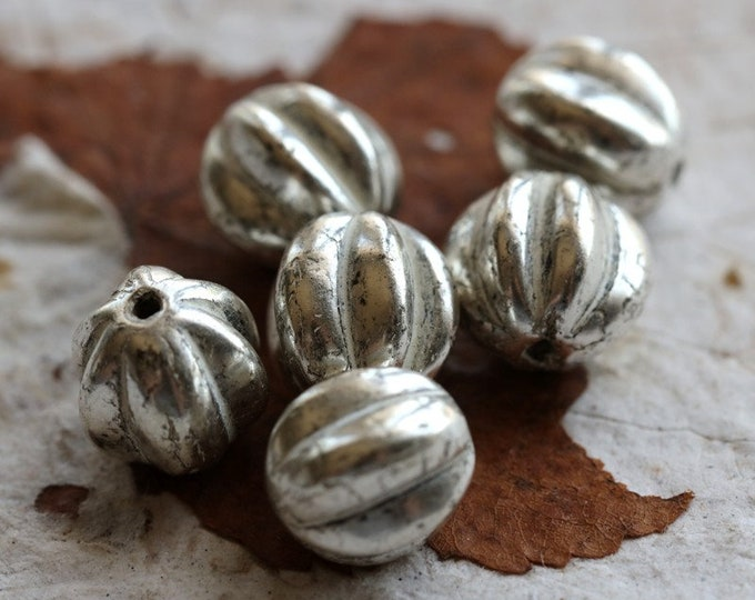 SILVER MERCURY MELONS 10mm .. 6 Premium Mercury Czech Glass Melon Beads (7190-6)