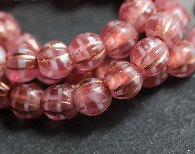 COPPER PINK MELONS .. 25 Premium Picasso Large Hole Czech Glass Melon Beads 6mm (7098-st)