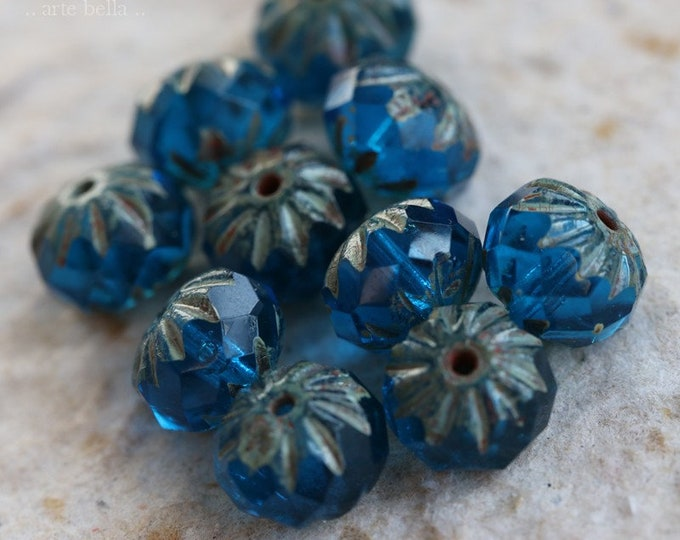 PACIFIC CRUELLER .. New 10 Premium Picasso Czech Glass Beads 9x6mm (7322-10)