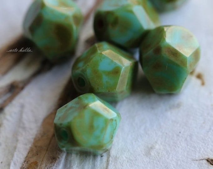 sale .. MOSS TURQUOISE NUGGETS No. 2 .. 6 Premium Picasso Czech Faceted Glass Beads 9-10mm (4956-6)