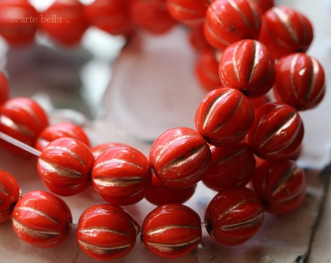 GILDED CORAL MELONS 6mm .. 25 Premium Picasso Czech Melon Beads (6963-st)