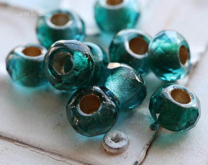 EMERALD AQUA ROLLERS .. 10 Premium Czech Glass Large Hole Roller Beads 6x9mm (6079-10)
