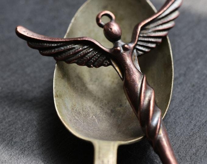 WINGED GODDESS No. 201 .. 1 Mykonos Winged Goddess Angel Pendant 51x41mm (M201-1)