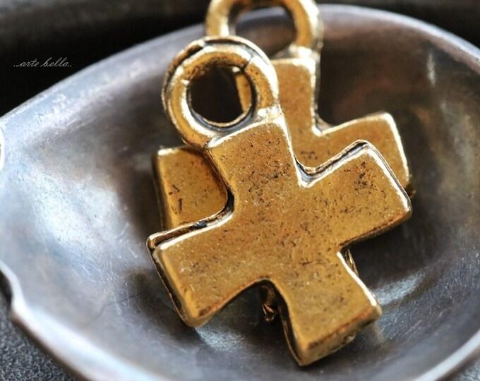 DECO CROSS No. 127 .. 2 Mykonos Greek Cross Charm Beads 17x14mm (M127-2)