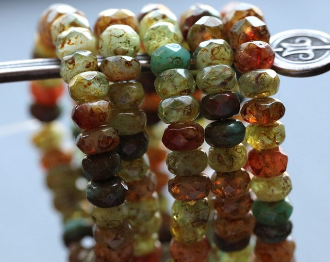 JADED MIX BABIES .. New 30 Premium Picasso Czech Rondelle Glass Beads 3x5mm (7250-st)