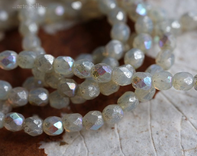 MYSTIC OPAL BITS 4mm .. 50 Premium Czech Glass Faceted Round Beads (7150-st)