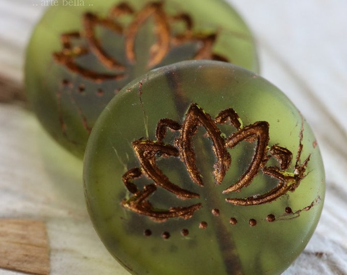BRONZED OLIVE LOTUS .. 2 Picasso Czech Matte Glass Lotus Coin Beads 18mm (6851-2)